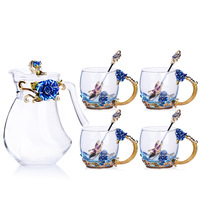 Цвет эмаль кофейные чашки горшок комплекты воды чайник подарочная упаковка для чашки в европейском стиле coffeeware друг подарки