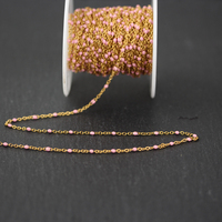 2mm,Pink Enamel Round Beads Chain Jewelry,Wire Wrapped Golden Plated Stainless Steel Links Fashion Necklace for Gifts