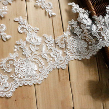 6Yards Embroidered Lace Trim Sewing Ribbon And Off White Fabric DIY Craft Flowers Accessories For Wedding Dress