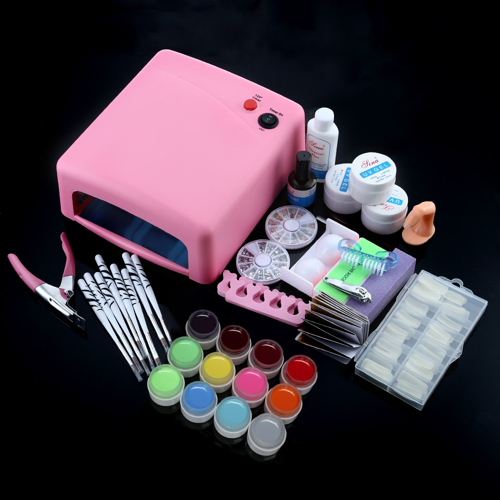 Professional Full Set ABS 36W Cure UV Lamp Dryer + 12 Solid Color UV Gel Nail Polish Extension Gel Art Dryer Curining Tools kit hot pro full 36w white cure lamp dryer 12 color uv gel nail art tools set kit nail art decorations q70818