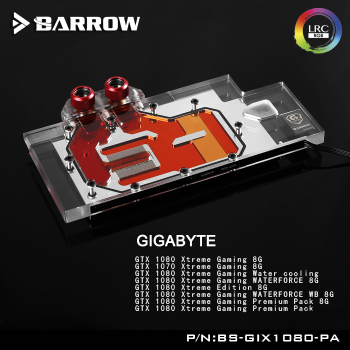 Barrow BS-GIX1080-PA LRC RGB v1/v2 Full Cover Graphics Card Water Cooling Block for GIGABYTE XTREME GAMING GTX1080/1070 barrow lrc rgb v1 full cover graphics card water cooling block bs gb1080 for gigabyte gtx1080 g1 gaming gtx1070 g1 gtx1060 g1