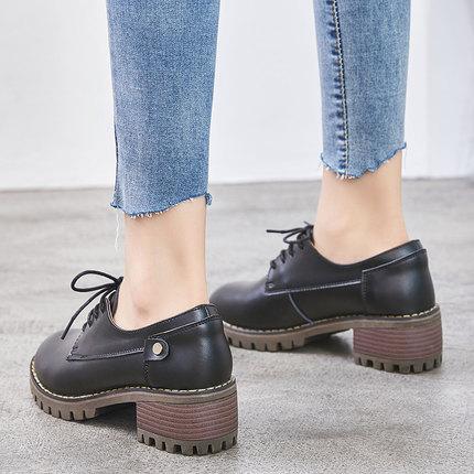 Los Con Británico Viento Gruesos Zapatos Las Cuero Otoño 1 De Nuevo Solos Mujeres 2018 Ocasional nw4qYZ0S
