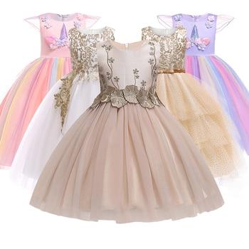 76c7bf37db Verão Vestido Da Menina doce 3-12 anos da princesa Vestidos de Casamento  Linha Ouro Bordado Flores Formal Vestido de Festa de Aniversário Da Menina