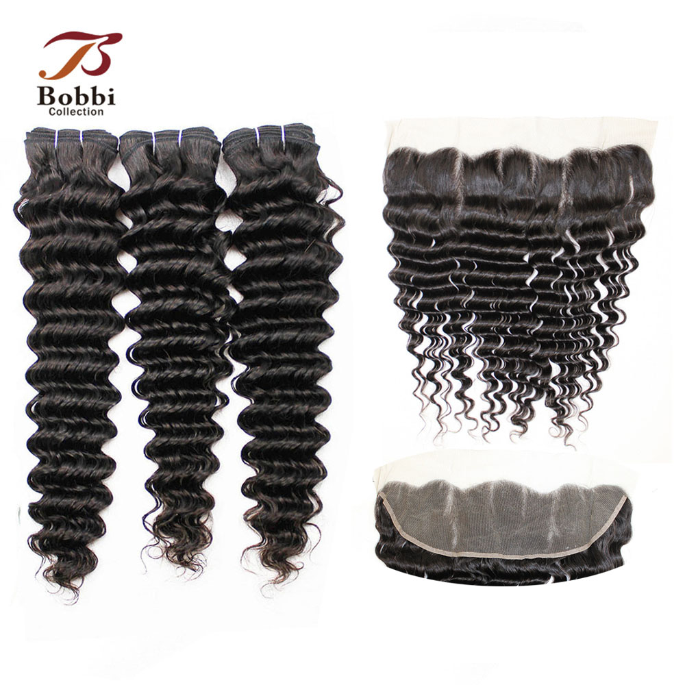 BOBBI COLLECTION Indian Deep Wave Bundles With Frontal 4x13 Ear to Ear Lace Frontal Non-Remy Human Hair Weave Extensions