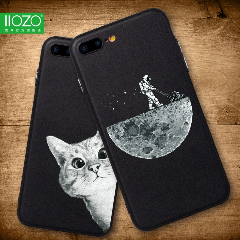 Case For Iphone 6 6S 6Plus 7Plus 8 Space Moon Sun Flower Math Cute Cats Pandas Animal Black Phone Cases Cover For Iphone 8 Plus