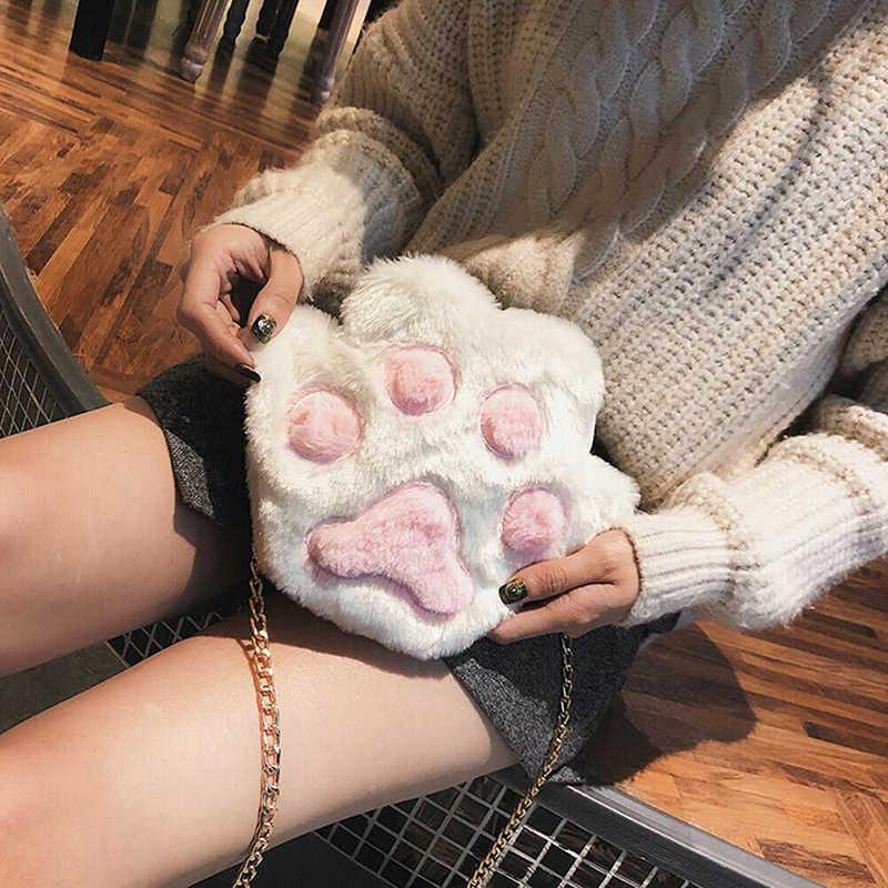 2019 Wanita Bulu Cakar Kecil Bahu Tas Koin Dompet Wanita Tas Selempang Cute Indah Gadis Ulang Tahun Hadiah Pemegang Fashion Baru