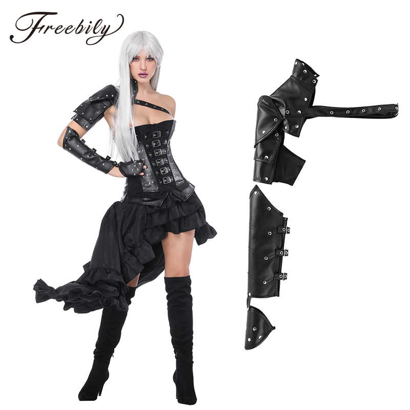 PU Leather Buckle Shoulder Long Sleeve Vintage Gothic Arm Armor Arm Warmers Women Steampunk Clothing Cosplay Costume Accessories