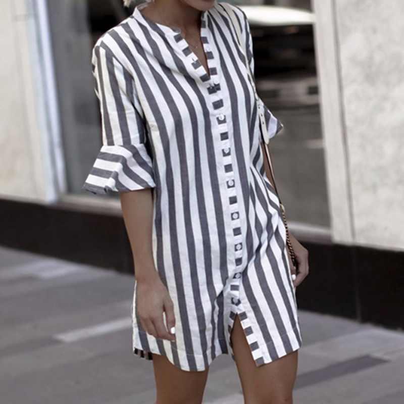 2019 femmes Blouse robe dames rayé longue chemise robe lâche bouton femmes noir blanc rayé demi manches Vintage femme
