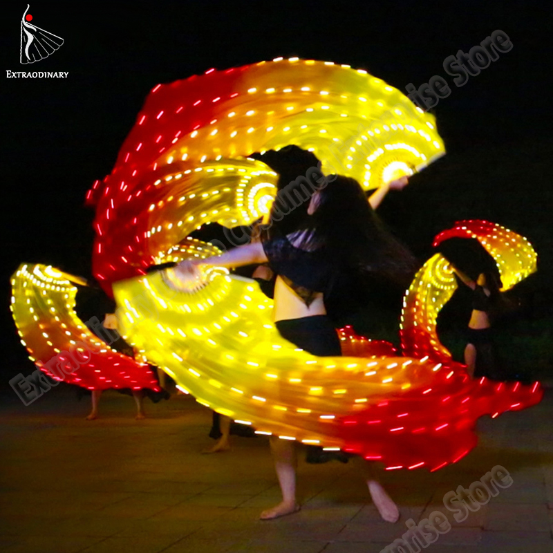 Belly Dance Fan Veils Silk LED Light Show Led Silk Fan Veil Yellow Red Prop Accessories Stage Performance Rechargeable