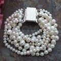 7 Strands White Round Pearl Bracelet