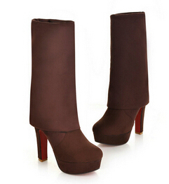 b346953c16ce Faux Suede Red Bottom Thigh High Boots Platform Chunky Thick Heels Sexy  Fashion Womens Over The Knee Boots