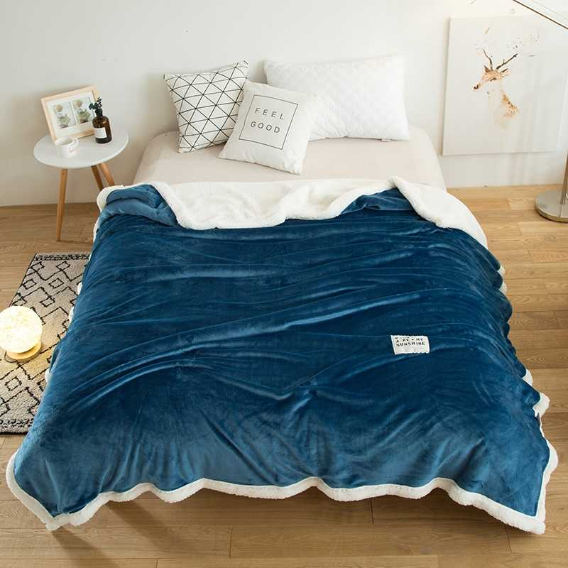 Double Velvet Sherpa Double Layer Blanket Thick Soft Throw Blanket On Sofa Bed Plane Travel Plaids Adult Home Textile Cobe Soft