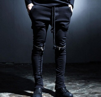 27-44 !Autumn new men's clothing casual pants personality zipper decoration taper skinny pants plus size Men trousers !