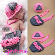 Crochet Pink Firefighter Baby Girl Hat Suspender Set Newborn Girls Fireman Photography Props Infant Halloween Costume MZS-16003