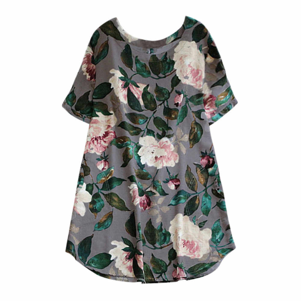 Summer dress Women Lady Floral Print beach Party dress 2019 ladies Short Sleeve Sundress shirt  robe Plus Size vestidos 4 colors