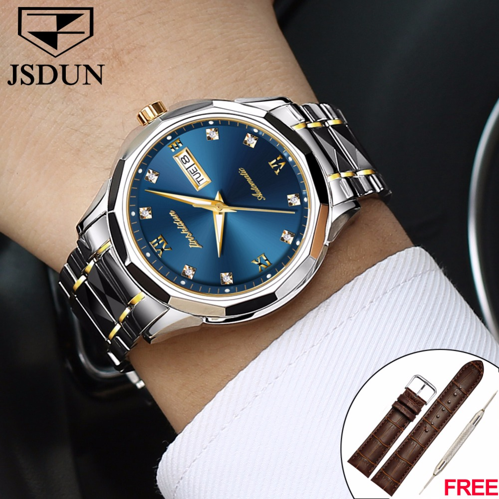 Men's watches Male watch luxury brand well-known brand JSDUN Japan Relogio Masculino Automatic Mechanical Watch Men Luminescent