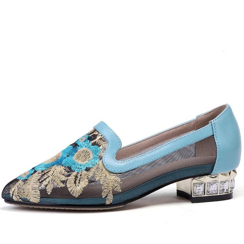 Femmes Baiser En Bleu Pointu Vache Pompes Tthnic Chaussures Appliques vert Mesh Cuir Bout Cristal Mouillé Talons 2019 Femme Pour D'été rwqIr0