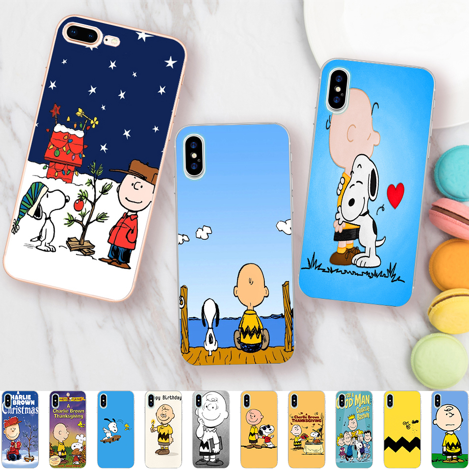 Minason Charlie Brown with Dog Birthday Christmas Case for iPhone X 5 S 5S SE 6 6S 7 8 Plus Cover Clear Soft TPU Phone Fundas ...