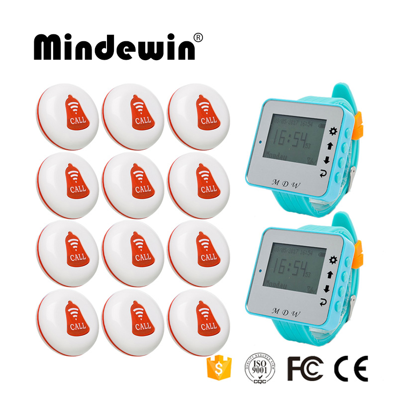 Mindewin Restaurant Pager 12PCS Service Call Button M-K-1 and 2PCS Wrist Watch Pager M-W-1 Wireless Waiter Calling System resstaurant wireless waiter service table call button pager system with ce passed 1 display 1 watch 8 call button