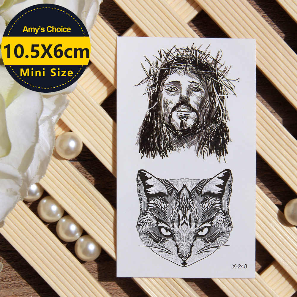 Jesus With Crown Of Thorns Temporary Tattoo Body Art Arm Flash Tattoo Stickers Waterproof Tattoo Henna Fake Tatoo Sticker