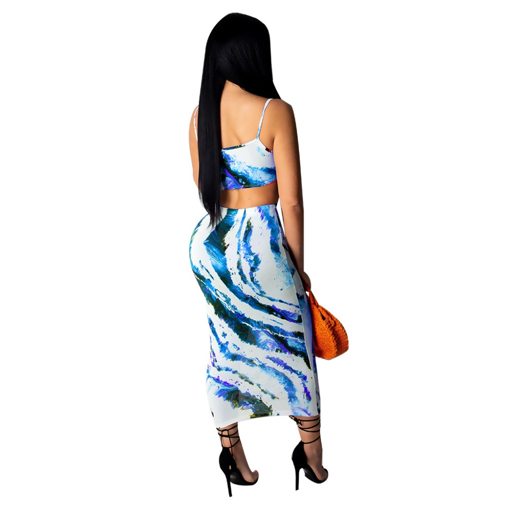 Tie Dyeing Printed Two Piece Set Spaghetti Strap Crop Top and Long Skirt Skinny Bodycon Skirt Set Sexy Club Outfit Party Set in Women 39 s Sets from Women 39 s Clothing