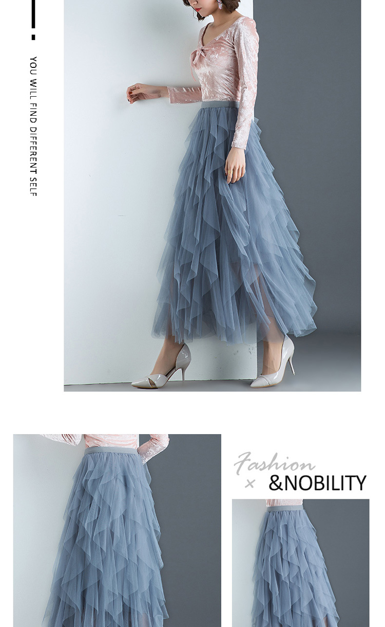 Women irregular Tulle Skirts Fashion Elastic High Waist Mesh Tutu Skirt Pleated Long Skirts Midi Skirt Saias Faldas Jupe Femmle 48