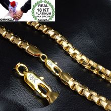 OMHXZJ Wholesale Personality Fashion Man Male Party Wedding Gift Gold 8MM Box Chain 18KT Gold Chain Necklace NC150