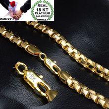 OMHXZJ hurtownia osobowości moda mężczyzna mężczyzna wesele prezent złoty 8MM pudełko łańcuch 18KT złoty łańcuszek naszyjnik NC150