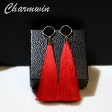 Charmwin Statement Bohemian Long Earrings Tassel Earrings Women Dangle Earrings Fashion Jewelry Black Blue Red 3 Colors PE1610