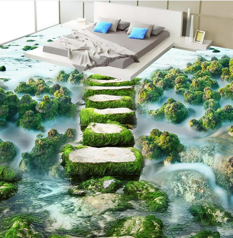 3D floor beach pier custom bathroom vinyl flooring waterproof 3d floor wallpaper self-adhesive high quality 3d flooring vinyl custom 3d floor bathroom landscape non slip wear thickend self adhesive wallpaper