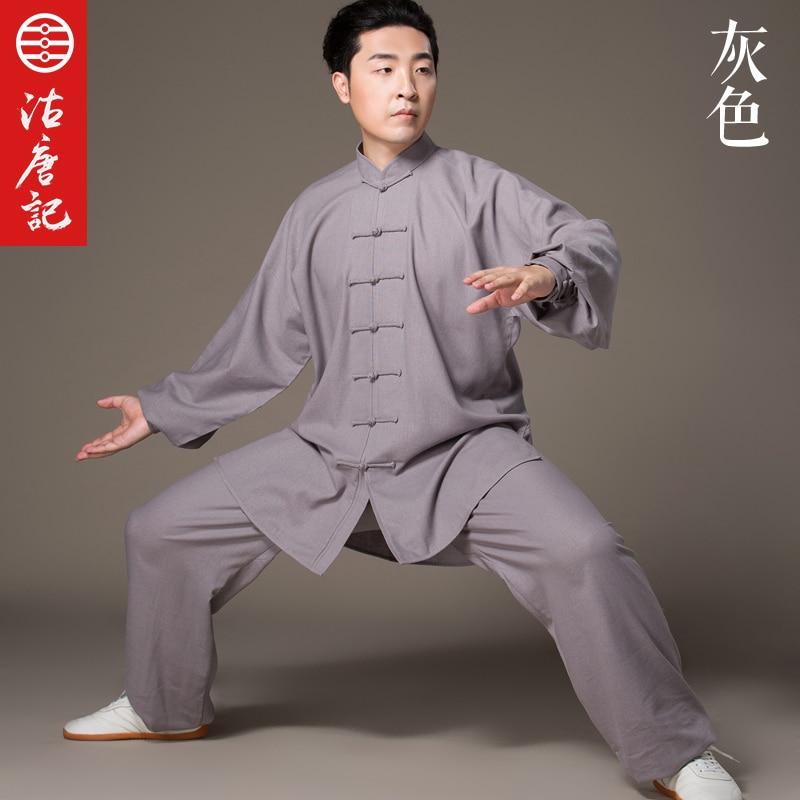 Flax Tai Chi Serve Men And Women Taiji Boxing Performance Clothing  Autumn Linen Kung Fu  Suit  Wing Chun Uniform