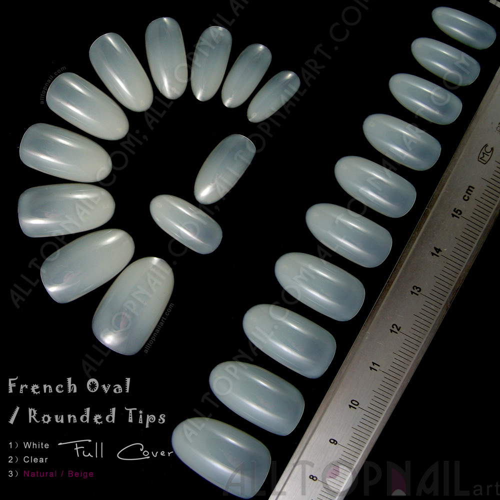 Artificial Nail Tips: French Oval / Rounded Acrylic Artificial False Nail Tips