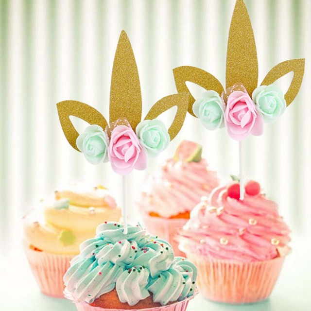 Happy Birthday Wedding Unicorn Cartoon Cake Decorations Flags
