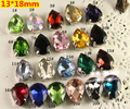21Colors for Choice,13*18mm 128pcs/Lot Pear Drop Crystal With Claw Setting Sewing Glass Crystals stone for dress,jewelry