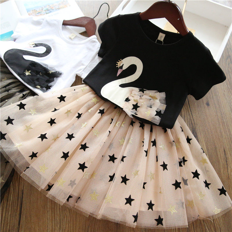 Girls Clothing Sets 2019 Summer Princess Girl Bling Star Flamingo Top + Bling Star Dress 2pcs Set Children Clothing Dresses(China)