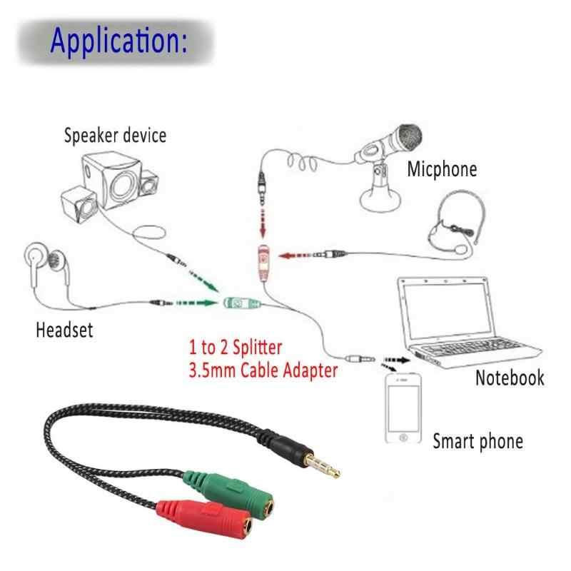 1 шт./2 шт. 3,5 мм стерео аудио штекер 2 гнездовой разъём наушников/микрофон Y сплиттер кабель для динамика Micphone смартфон