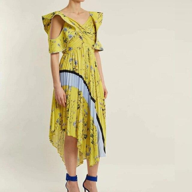 6203062cbb28 Self portrait designer dress 2018 women sexy off shoulder yellow floral  printed irregular midi chiffon dress vestidos