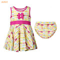 2pcs 2017 new arrival infant dress baby girl clothing set summer dresses casual sleeveless cotton dress underpants kids clothes