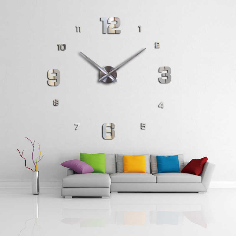 Affordable parity home decoration Balcony/Courtyard wall stickers mirror effect Brief style  diy quartz wall clock still life