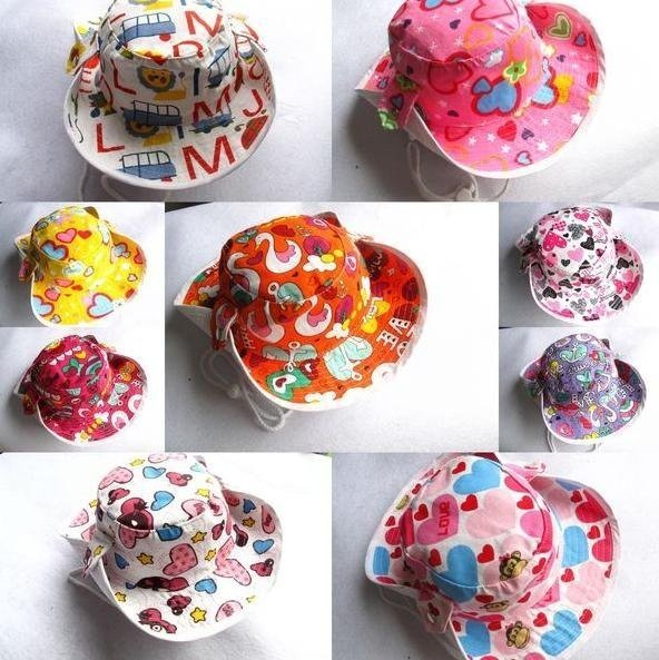 50pcs Korean children cotton Denim cowboy hats Toddler's sun caps Basin cap