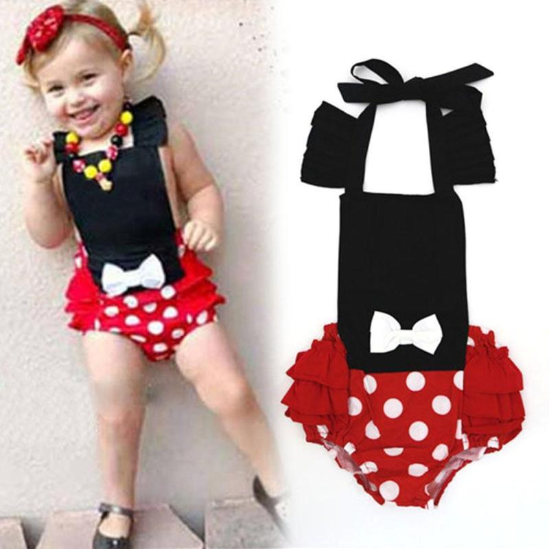 Lovely baby rompers summer girls clothing set Toddler kids dot Ruffle jumpsuit Roupas Bebes Baby girls clothes D3-26B
