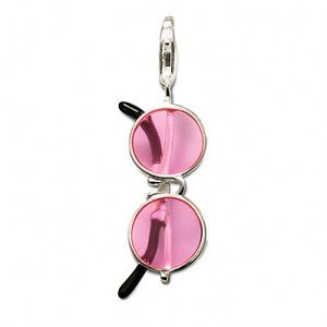 AENINE Fashion Silver Color Pink Sunglasses Diy Pendant Charms Fit Bracelets & Necklaces For Women Drop Shipping TSCH7172