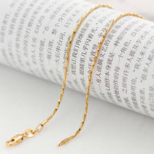 Italian brand 1mm 18 inch real yellow gold twisted thin snake chain Necklace for men and women Never fading high quality wil(China)