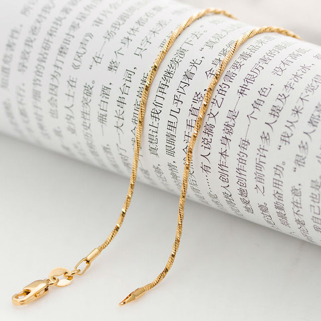 Italian brand 1mm 18 inch  real yellow gold twisted thin snake chain Necklace for men and women Never fading high quality wil
