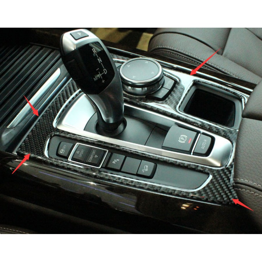 Carbon Fiber Inner Gear Shift Box Panel Cover Trim 1pcs For BMW X5 F15 2014-2015 yandex w205 amg style carbon fiber rear spoiler for benz w205 c200 c250 c300 c350 4door 2015 2016 2017