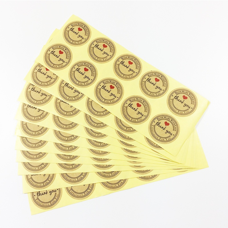 500 Pcs/lot THANK YOU Kraft Round Labels Stickers Handmade With Love Stickers Labels Paper Scrapbook Seal Adhesive Label matte white a4 kraft paper self adhesive square print label stickers library book shipping labels for laser inkjet printer
