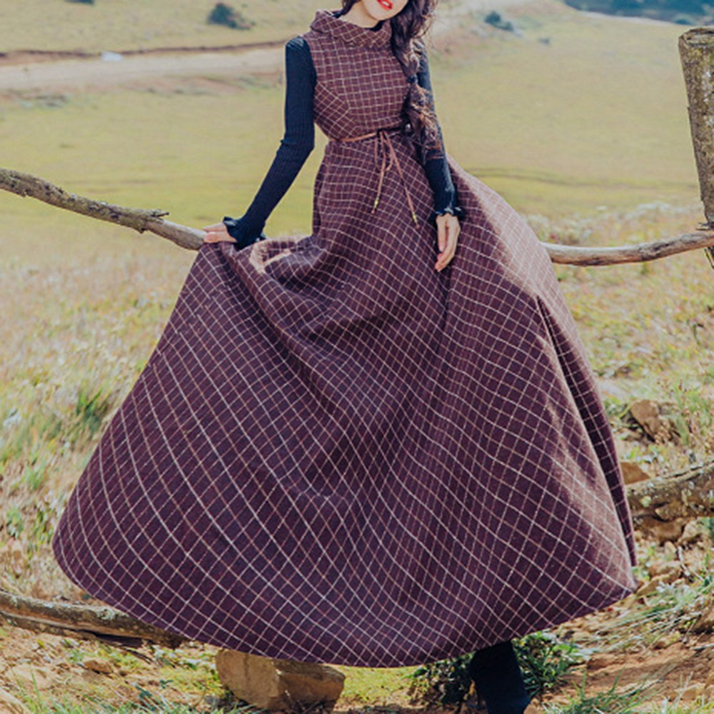 Women Vintage Suit Set Woolen Plaid Swing Maxi Dress Black Knitted Sweater Middle Ages Autumn Winter Elegant Two Pieces Suits