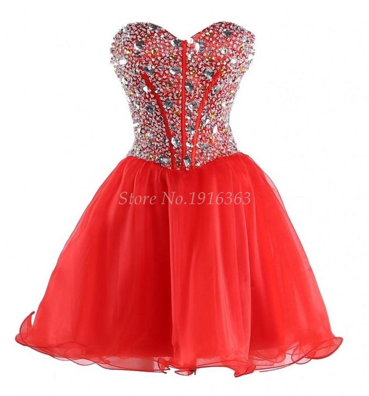ANTI 2019 Luxury Red Robe De Cocktail Dresses Short Beaded Rhinestones Elegant Vestidos De Coctel Party Prom Gowns Knee Length