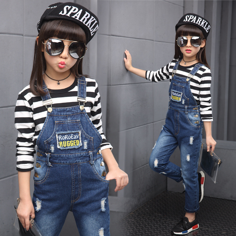 ФОТО Brand 2017 New Kids  Girls Ripped Denim Jeans Pants Children Overalls Distrressed Jeans Pants  Girls Casual Jeans Strap jeans