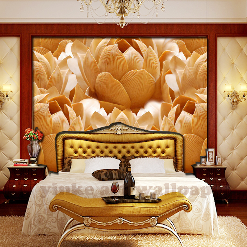3D Photo Wallpaper Wood Carving Lotus Flower Large Wall Mural Living Room Sofa TV Background Papel De Parede 3d In Wallpapers From Home